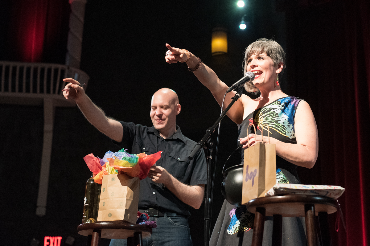 Eric Scheur and Reba Sparrow host a special PRIDE edition of The Mystery Box Show from the stage of the Alberta Rose Theatre in Portland, OR. Photo by Nick Mendez.