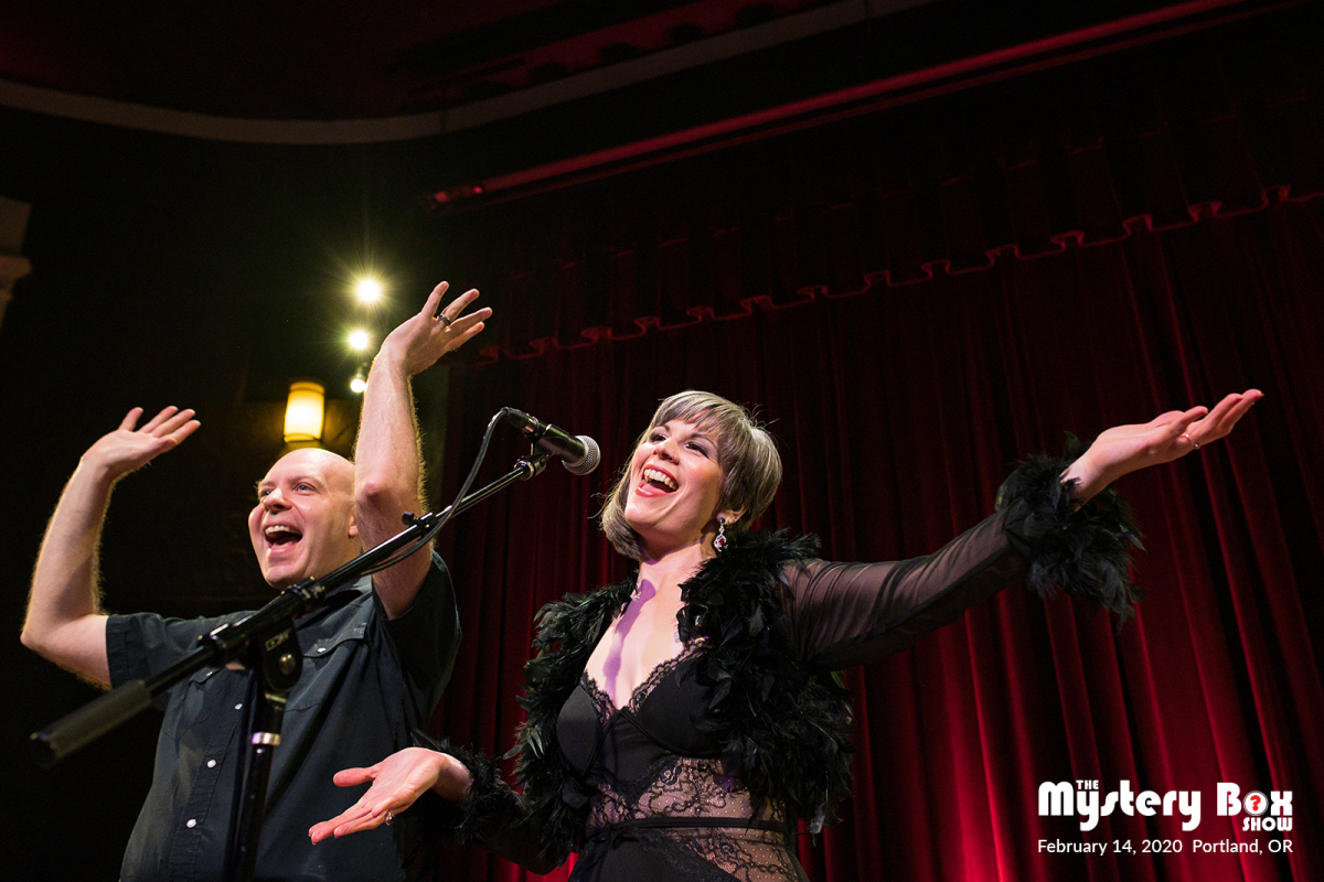 Reba Sparrow and Eric Scheur host The Mystery Box Show on Valentine's Day 2020 at the Alberta Rose Theatre in Portland, OR.